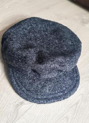 """Клевая серая кепка с козырьком """"гаврош"""". 58% шерсти"""