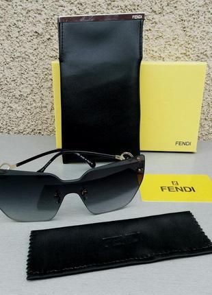Fendi очки женские солнцезащитные черные безоправные