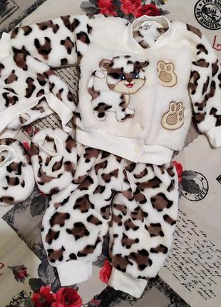 Махровый костюм набор, махровий набір для новонародженого, пинетки, шапочка