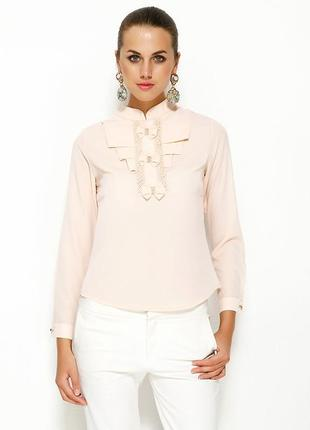 Розовая женская блузка ma&gi с жабо