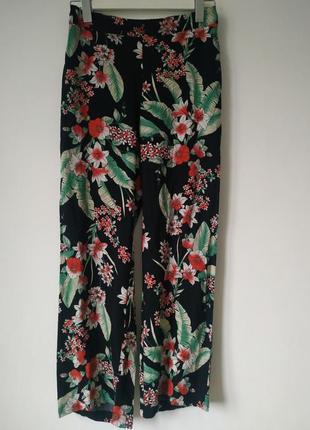 100% вискоза брюки штаны цветочный принт тропический