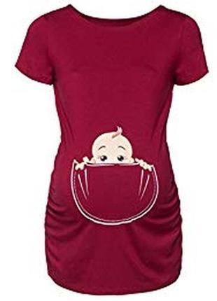 Классная стрейчевая футболка для беременных с малышом вискоза happy mama