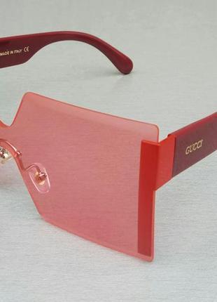 Gucci очки женские солнцезащитные большие квадратные безоправные розовые