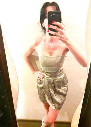 Красивая трендовая юбка на запах от mango золотистого цвета