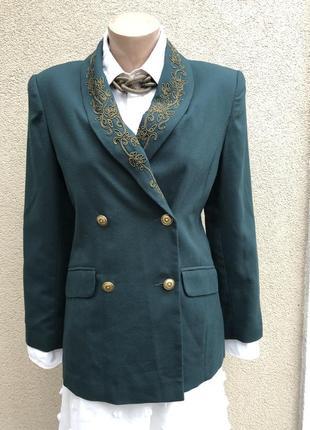 Винтаж,зелёный жакет,пиджак с золотой вышивкой,блейзер,