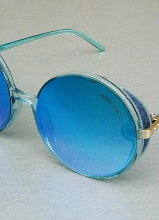 Jimmy choo очки женские солнцезащитные круглые голубые зеркальные