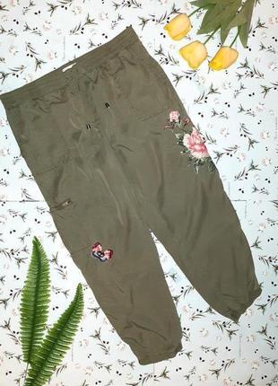 Фирменный брюки штаны на резинке карго с вышивкой next, цвет хаки, размер 52 - 54