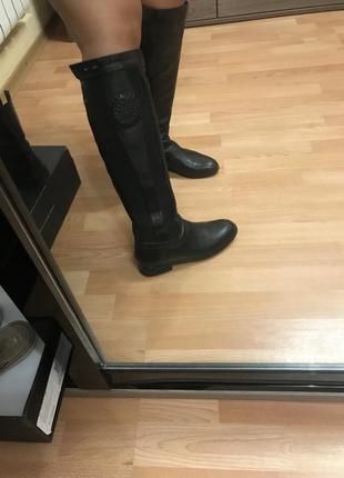 Сапоги высокие кожаные сапожки ботинки до колена