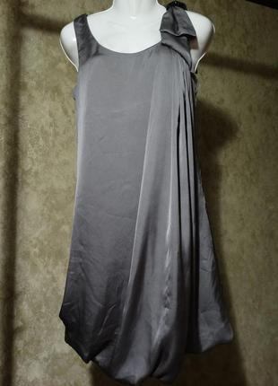 Sale!атласное коктельное платье с юбкой баллон,бант h&m