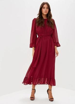 Шифоновое бордовое платье lost ink
