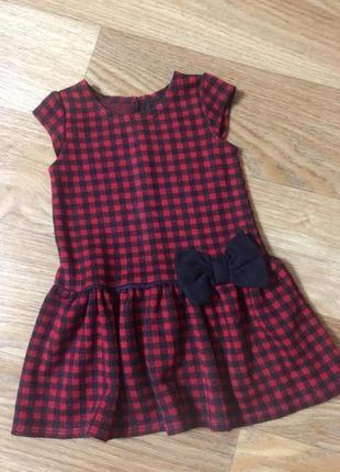 Детское теплое платье сарафан в клеточку на девочку 1-2 года