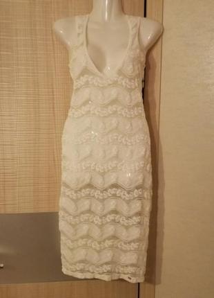 Ажурное платье миди накидка с глубоким декольте