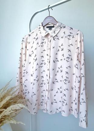 Персикова рубашка блузка в принт птахів
