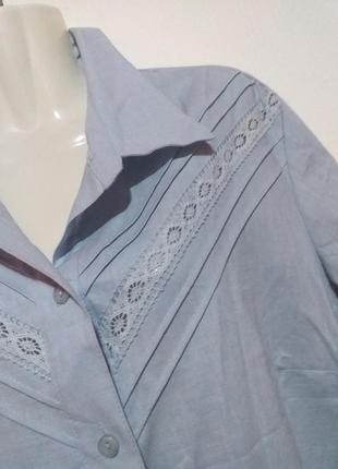 Натуральная льняная блуза рубашка раз.14