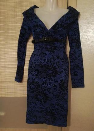 Платье миди,футляр с вырезом декольте набивной принт defile lux