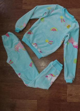 Пижама теплая зимняя next плюшевая меховая махровая домашний костюм