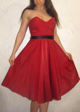 Платье quiz миди красное вечернее выпускное корсет