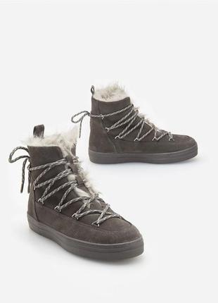 Утепленные кожаные ботинки луноходы