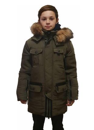 Теплая зимняя подростковая куртка на мальчика, цвета, размеры в ассортименте