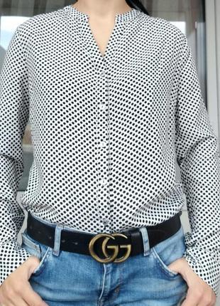 Atmosphere м/38 белая рубашка блуза в горошек