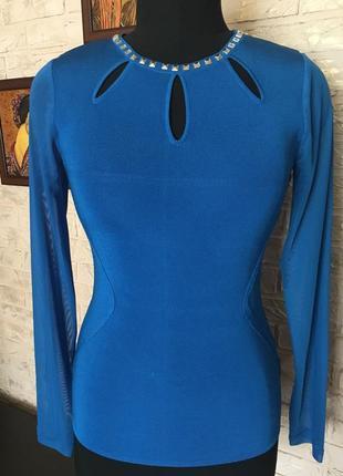 Синий лонгслив, рукава сетка