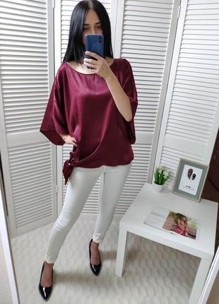 Блуза атласная бордовая f&f, p-p uk 18/ xl