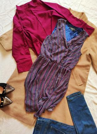 Платье шифоновое с запахом на подкладке сиреневое фиолетовое