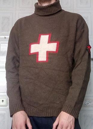 Винтажный милитари свитер strellson с патчем и крестом