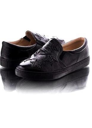 Туфли мокасины черные лаковые слипоны классические 24.5 и 25см