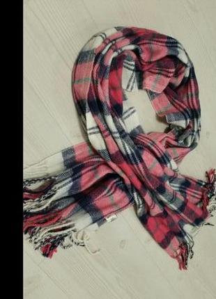 Большой теплый шарф в клетку