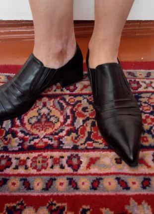 Кожаные туфли фирминые монарх, весна осень, с длинным носиком