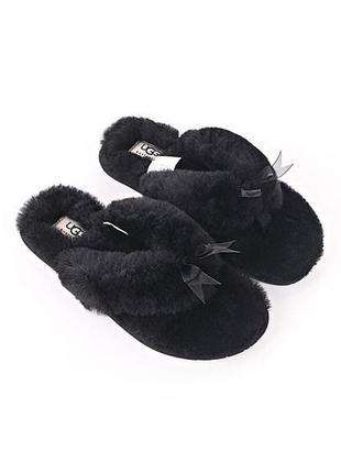 Ugg fluff flip flop оригинал вьетнамки с мехом угг черные.