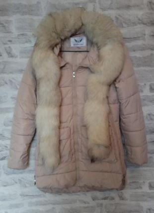 Куртка/ пуховик/ парка с шикарным меховым воротником. курточка с натуральным мехом.