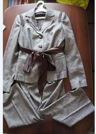 Идеальный шерстяной костюм тройка в елочку s.oliver s-m