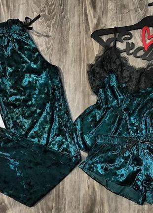 Комплект тройка из 3 шт велюровая пижама майка+шорты+штаны изумруд