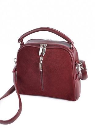 Замшевая маленькая сумка кроссбоди бордовая через плечо