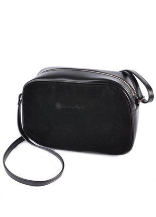 Замшевая маленькая сумка через плечо овальная черная на молнии