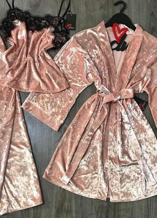 Набор из 3 шт велюровая пижама майка+штаны и халат