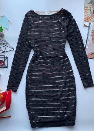 👗обворожительное чёрное платье reiss/кружевное платье длинный рукав/чёрное платье миди👗
