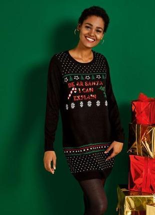 Женское новогоднее трикотажное платье esmara евро 36-38