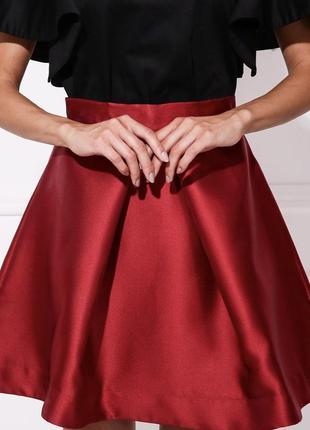 Нарядная короткая пышная юбка herstory вишневого цвета