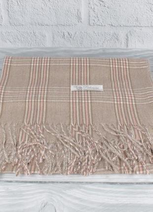 Уютный кашемировый шарф, палантин pashmina 7680-1 бежевый в клетку, расцветки