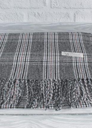 Уютный кашемировый шарф, палантин pashmina 7680-2 серый в клетку, расцветки
