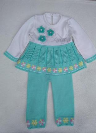 Нежный костюм для девочки, гамаши и туника 1 год 2 года