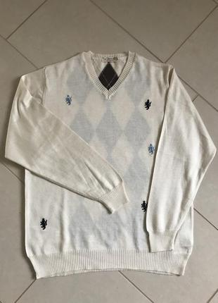 Пуловер мужской шерстяной стильный le breve размер l