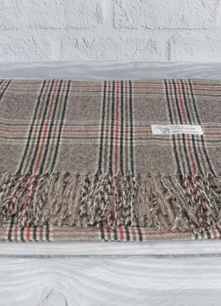 Уютный кашемировый шарф, палантин pashmina 7680-3 коричневый в клетку, расцветки
