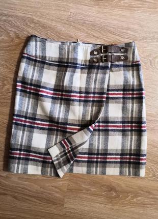 Шерстяная юбка на запах в клетку шотландка cane&cane