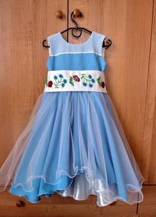 Детское платье голубого цвета с ручной вышивкой в национальном стиле