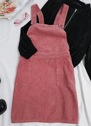 Актуальный вельветовый сарафан розовый тренд