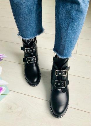 Обалденные кожаные ботинки на ремешках зима украина